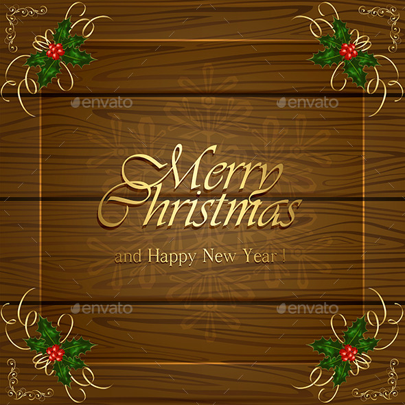 GraphicRiver Wooden Christmas Background 9802311