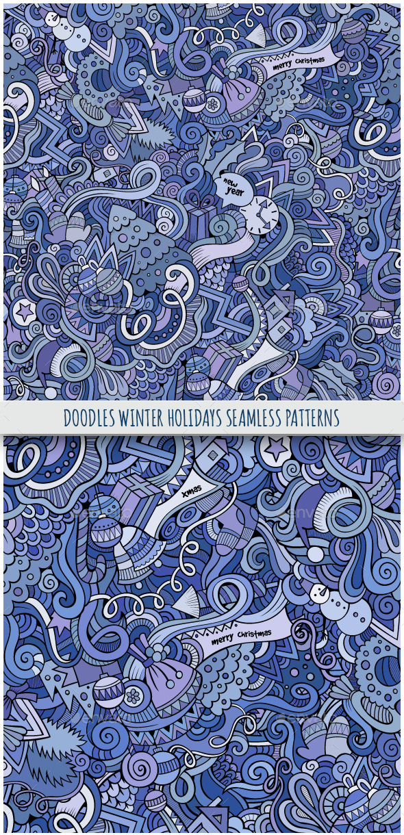 GraphicRiver 2 Doodles Winter Holidays Seamless Patterns 9802418