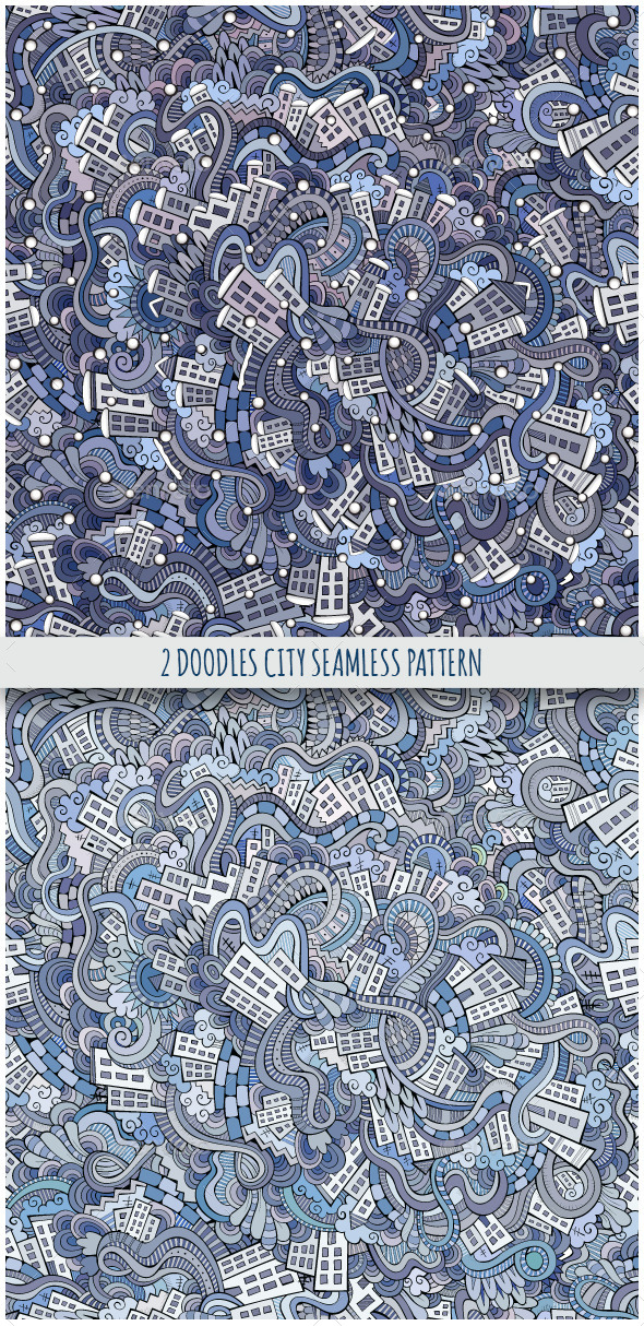 GraphicRiver 2 City Doodles Seamless Pattern 9802443