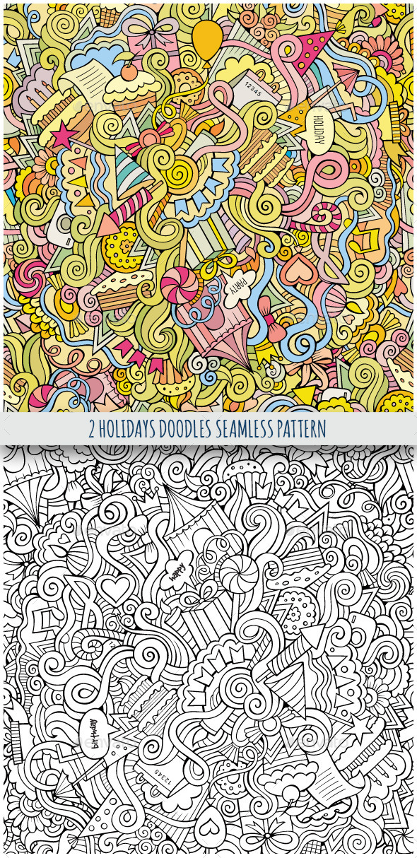 GraphicRiver 2 Holiday Doodles Seamless Pattern 9802446