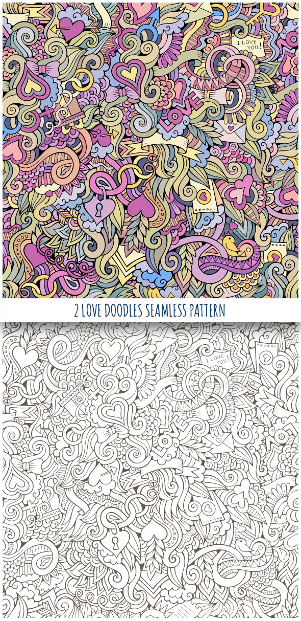 2 Love Doodles Seamless Pattern