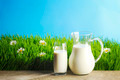 Milk jug and glass on grass - PhotoDune Item for Sale