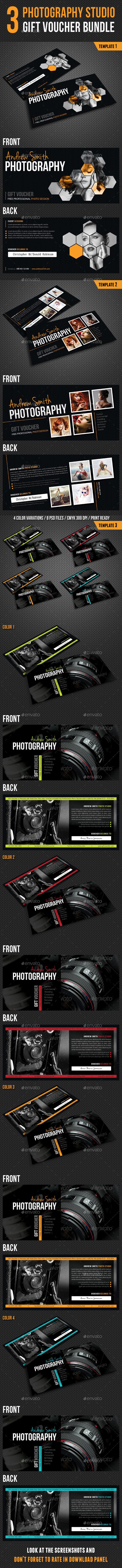 GraphicRiver 3 in 1 Photography Studio Gift Voucher Bundle 9804128