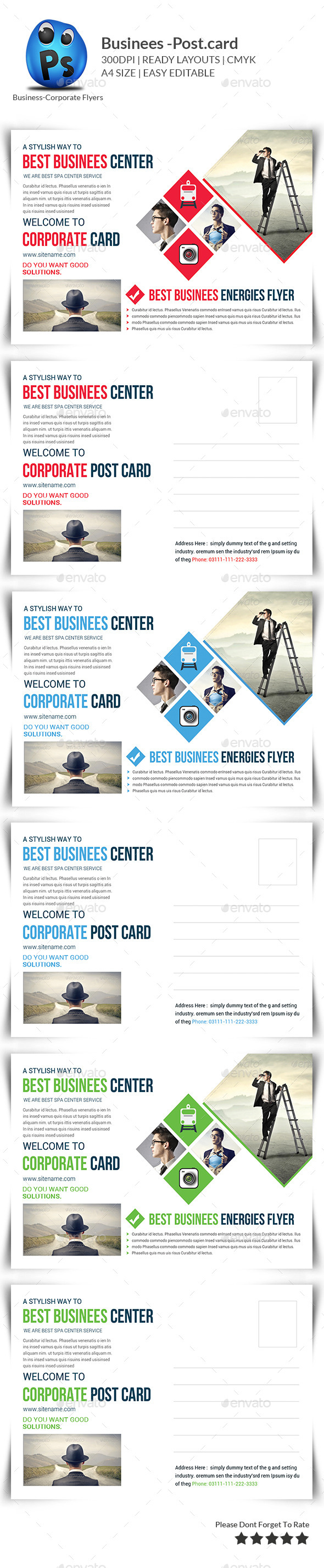 GraphicRiver Business Postcard Template 9804379