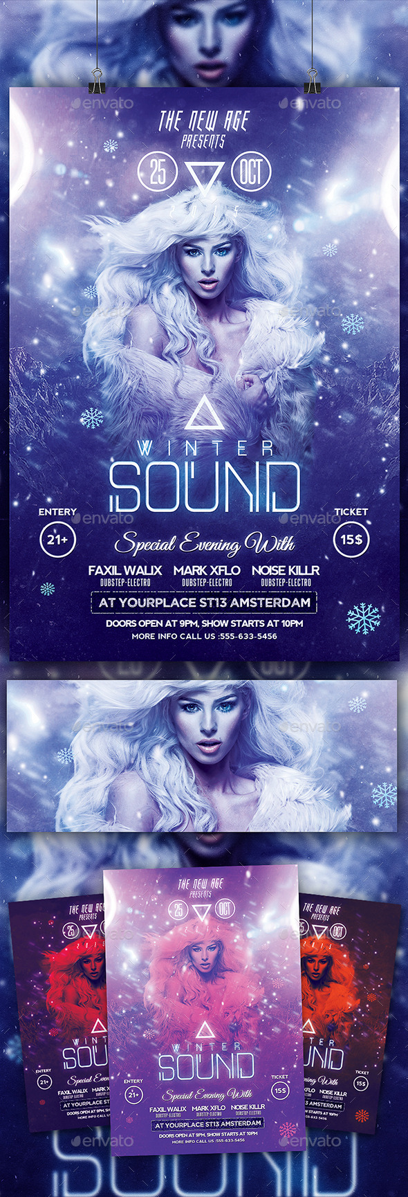 GraphicRiver Modern Flyer Winter Sound 9804465