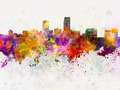 Omaha skyline in watercolor background - PhotoDune Item for Sale