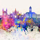 Cambridge skyline in watercolor background - PhotoDune Item for Sale