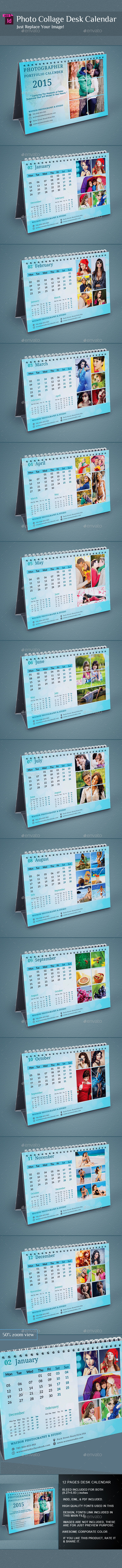 GraphicRiver InDesign Photo Collage Desk Calender 9806615