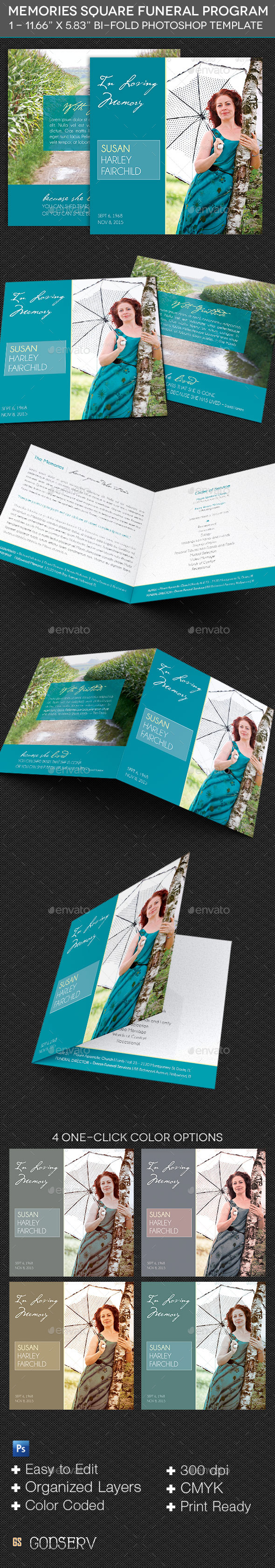 GraphicRiver Memories Square Funeral Program Template 9806826