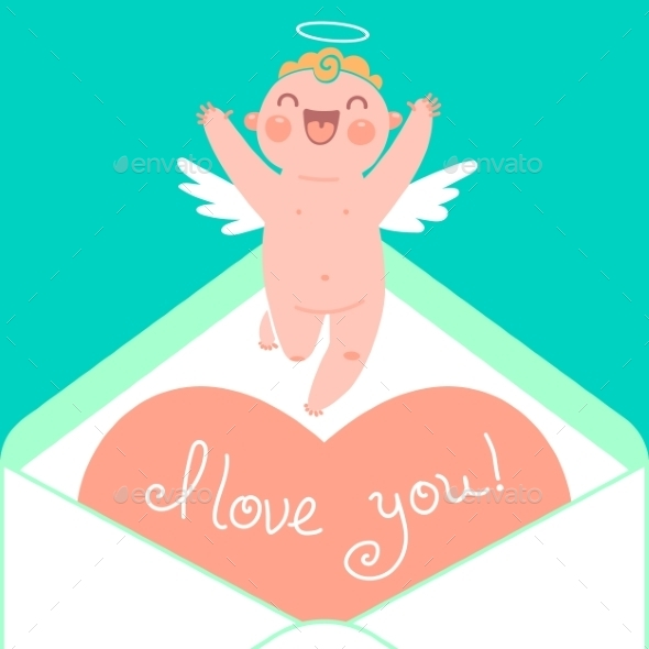 GraphicRiver Valentine s Day Card with Cupid and Heart 9807361