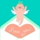 Valentine's Day Card with Cupid and Heart - GraphicRiver Item for Sale