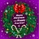 Christmas Wreath on Purple Background  - GraphicRiver Item for Sale