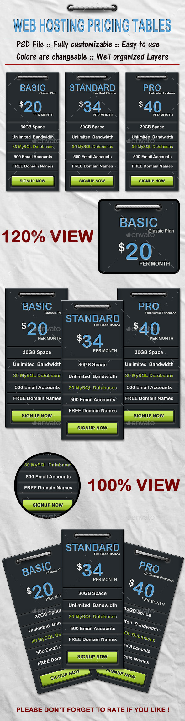 GraphicRiver Clean Black Web Pricing Table 9808114