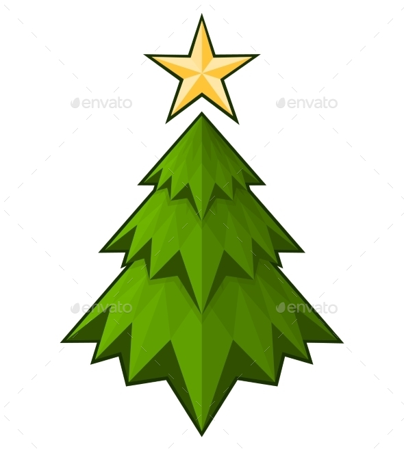 GraphicRiver Green Triangle Christmas Tree 9808180