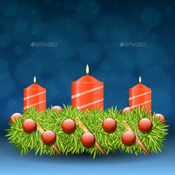GraphicRiver Advent Wreath of Twigs with Red Candles 9808203