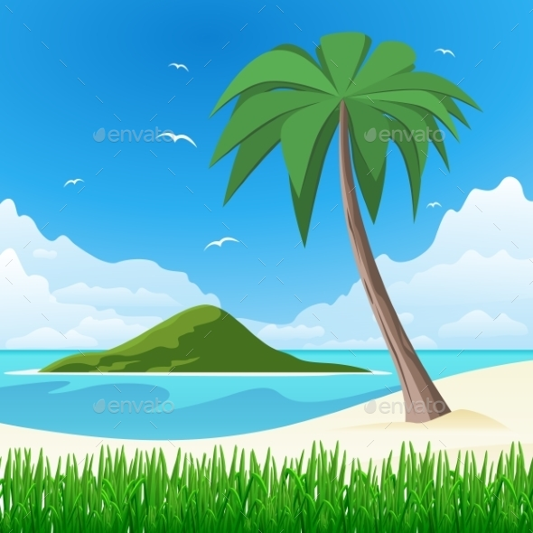 GraphicRiver Island with Palm Tree on Tropical White Sand 9808261