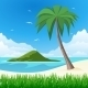 Island with Palm Tree on Tropical White Sand  - GraphicRiver Item for Sale