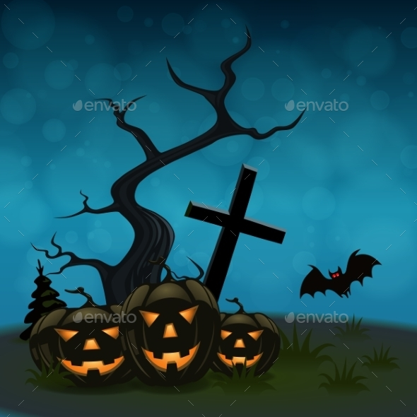 GraphicRiver Halloween Background with Pumpkins 9808276
