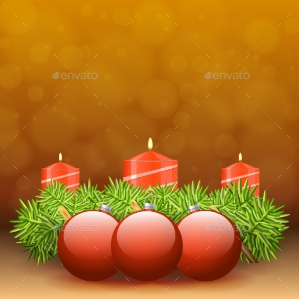 GraphicRiver Advent Wreath of Twigs with Red Candles 9808282