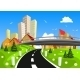 City Surrounded by Nature Landscape - GraphicRiver Item for Sale