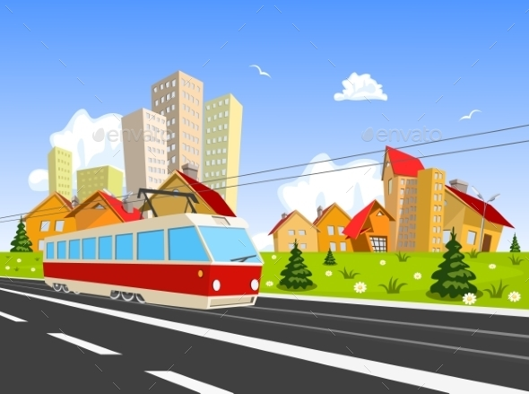 GraphicRiver Colorful City with Streetcar 9808298