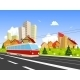 Colorful City with Streetcar - GraphicRiver Item for Sale