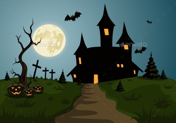 GraphicRiver Scary Halloween Background Scene 9808315