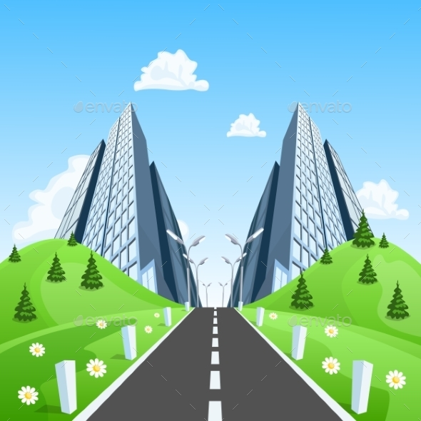 GraphicRiver Road into the City Through the Landscape 9808317