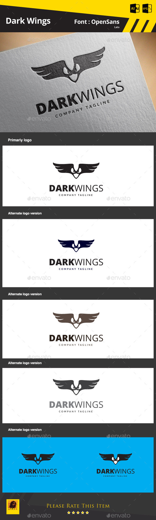 GraphicRiver Dark Wings Logo Template 9808638