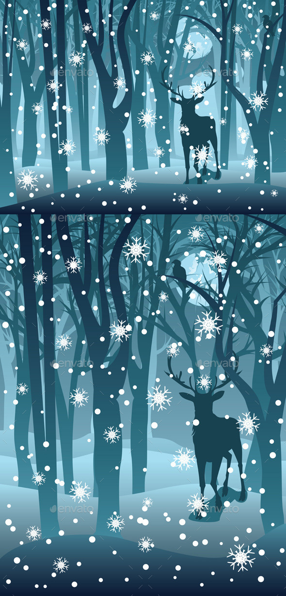 GraphicRiver Stag in Winter Forest 9808901