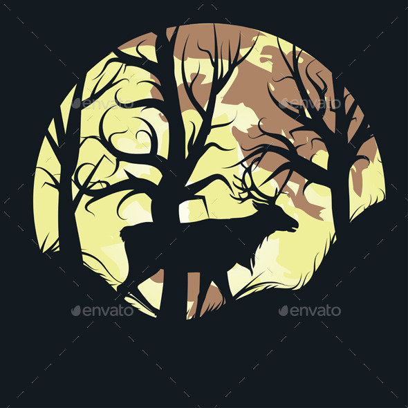 GraphicRiver Stag Over Full Moon 9808924