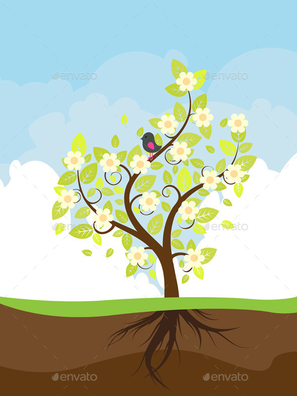 GraphicRiver Stylized Spring Tree 9808929