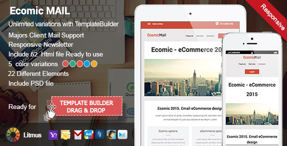 ThemeForest Ecomic Responsive Email & Template Builder Access 9808938