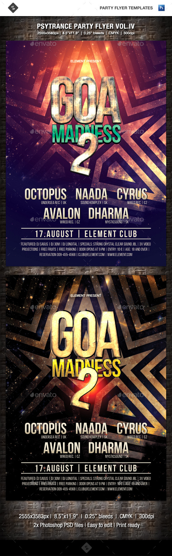 GraphicRiver Psytrance Party Flyer Vol.4 Goa Madness 2 9808993