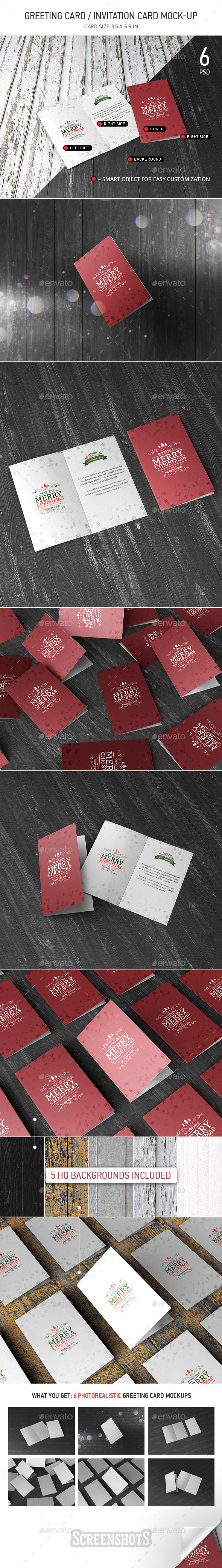 GraphicRiver Greeting Invitation Card Mock-Up 9809182