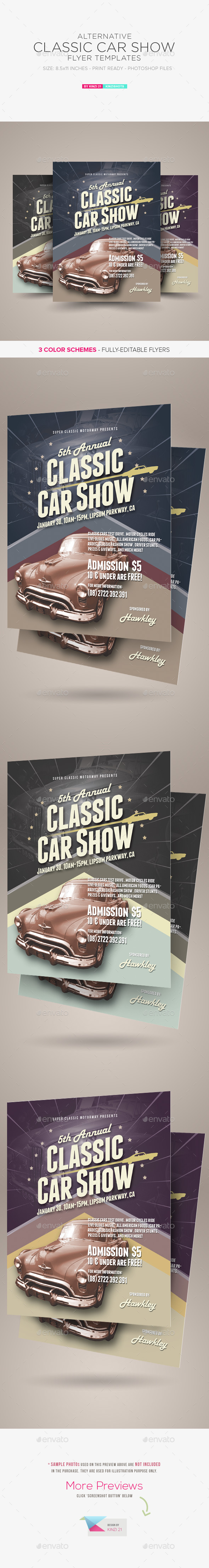 GraphicRiver Alternative Classic Car Show Flyers 9809370