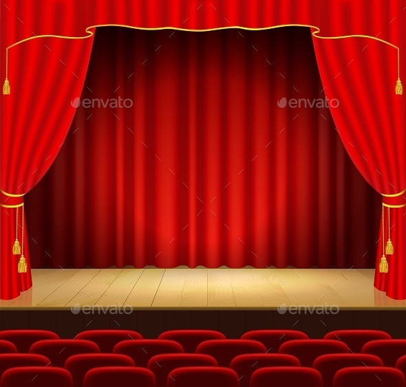 GraphicRiver Theater Stage with Red Curtain 9809444