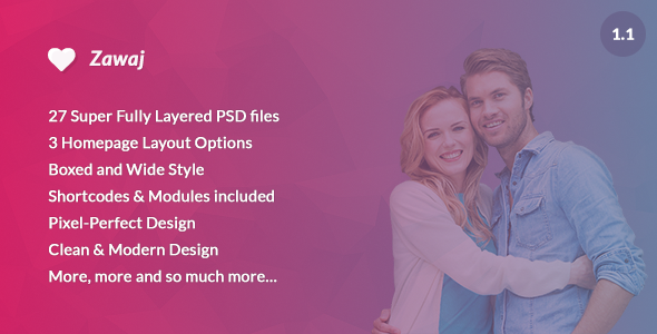 Zawaj – Dating – Community – PSD Template, Is an Awesome Design Idea It is perfect for a dating or community website but can be used as well m
