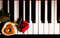 Red Rose and Candle on Piano Keys - PhotoDune Item for Sale
