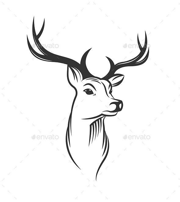 GraphicRiver Deer Head on White Background 9809708