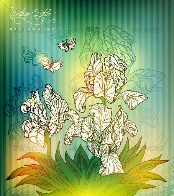 Vintage styled floral design - vector - Flowers & Plants Nature
