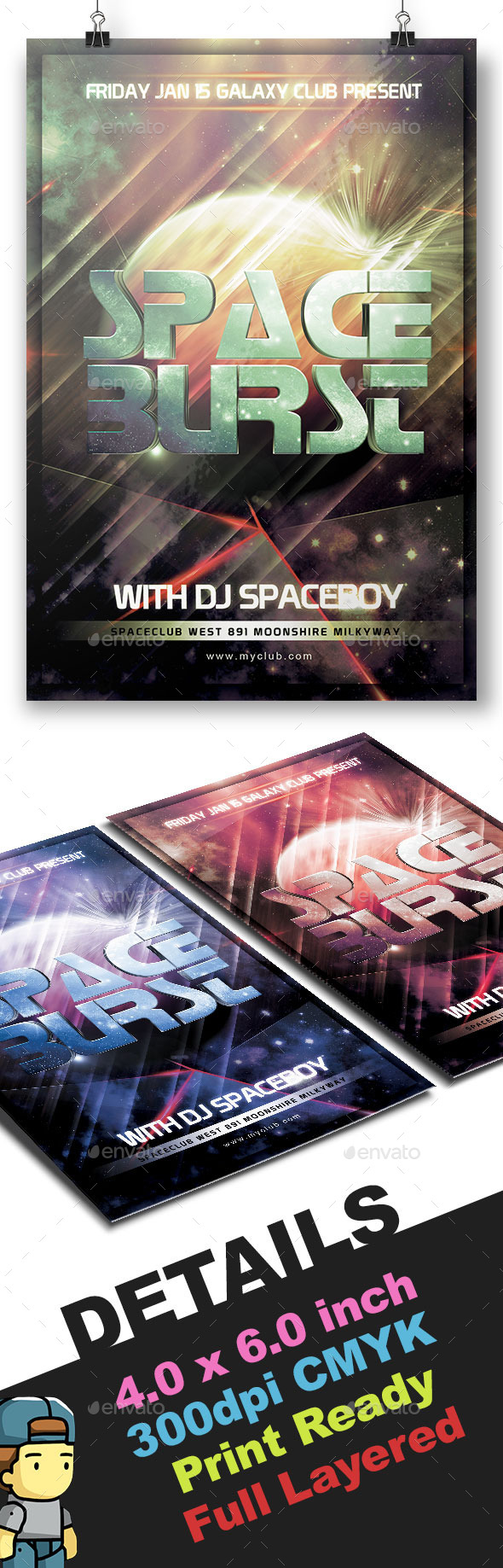 GraphicRiver Space Burst Electro Flyer Template 9810164