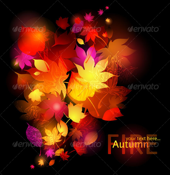 GraphicRiver Vector red leaves wind dark background 124673