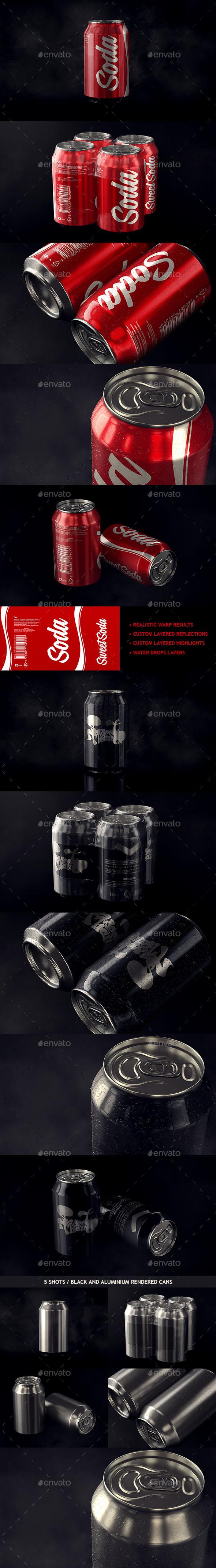 Photorealistic Aluminum Soda Can Mockup