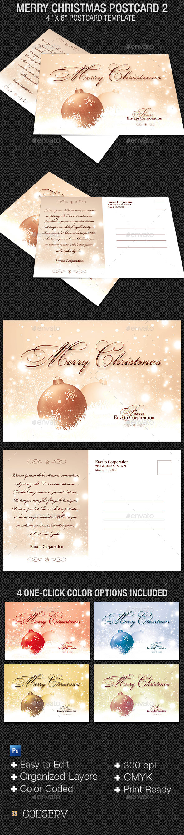 Merry Christmas Postcard Template V2 - Holidays Events