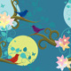 Seamless Background of Birds on a Branch - GraphicRiver Item for Sale