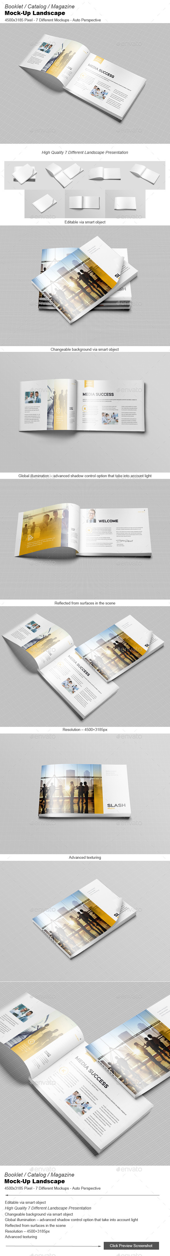 GraphicRiver Booklet Catalog Magazine Mock-Up Landscape 9812780
