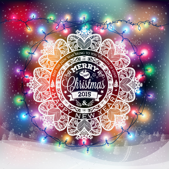 GraphicRiver Christmas and New Year Snowflake Label 9813290