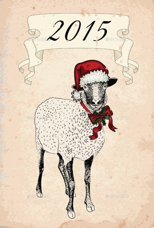 GraphicRiver Vintage Sheep 9813442