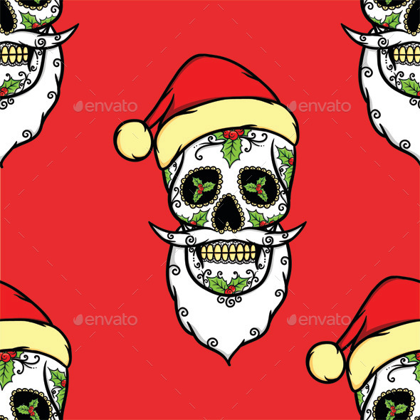 GraphicRiver Christmas Skull Pattern 9813463